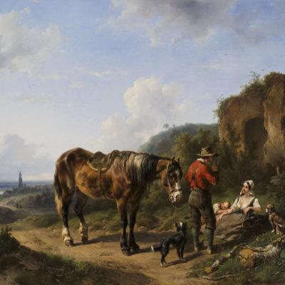 Wouterus Verschuur | Rustende figuren en een paard in een weids landschap | Kunsthandel Bies