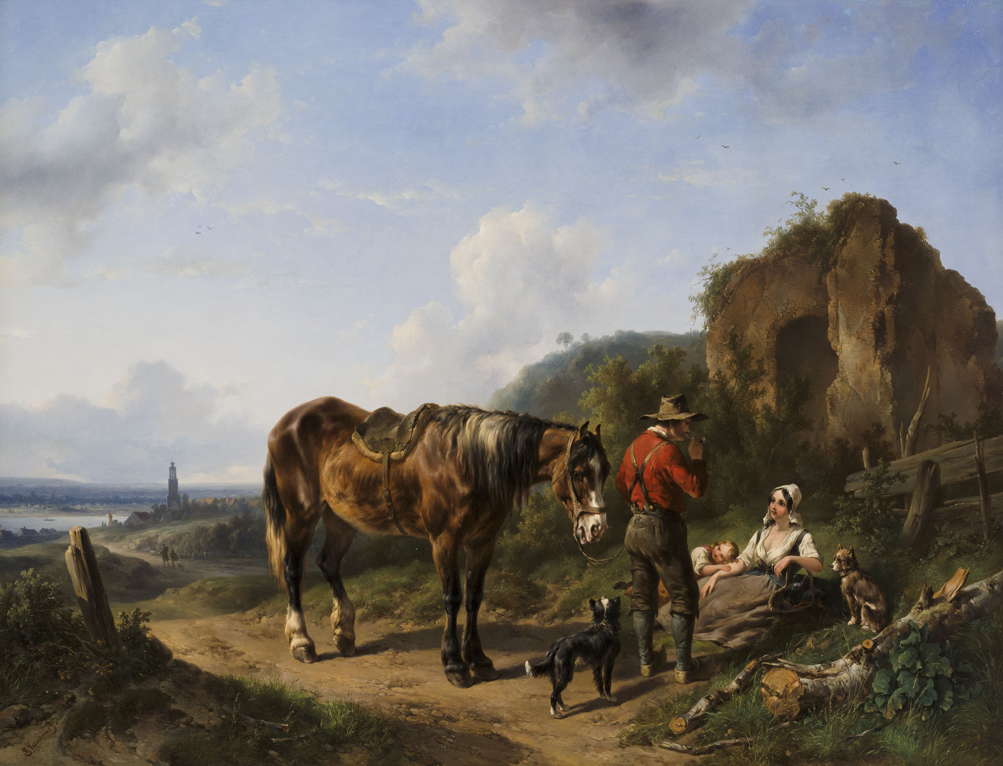 Wouterus Verschuur | An extensive landscape with resting figures and a horse | Kunsthandel Bies | Bies Gallery