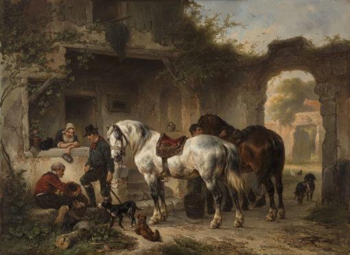 Wouterus Verschuur | Rustende paarden en figuren bij een herberg | Kunsthandel Bies