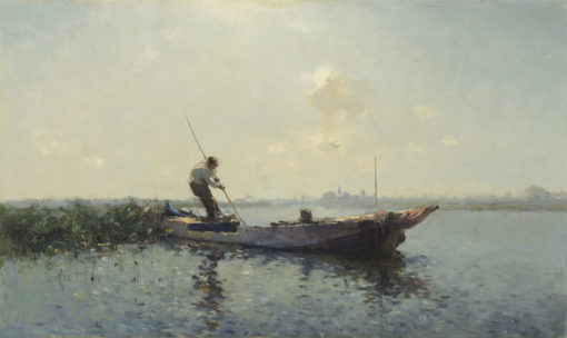 Cornelis Vreedenburgh | Gezicht op een plas met een man in een boot | Kunsthandel Bies