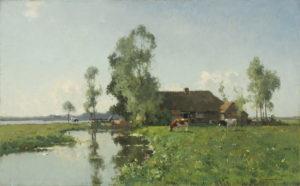 Cornelis Vreedenburgh | Polderlandschap met boerderij en koeien | Kunsthandel Bies