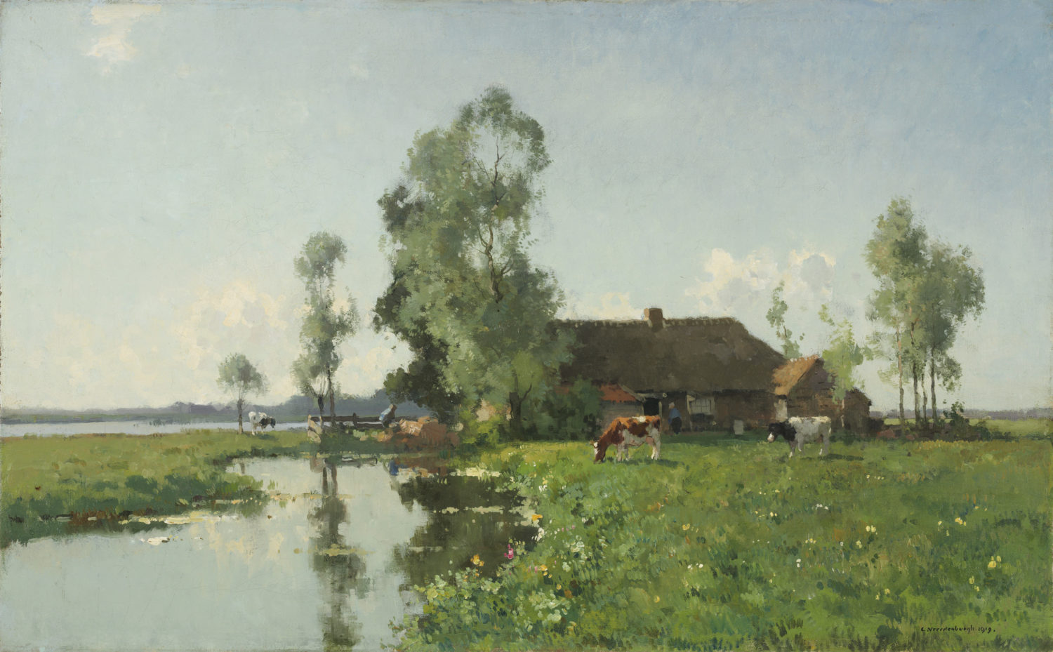 Cornelis Vreedenburgh | A polder landscape with a farm and cows | Kunsthandel Bies | Bies Gallery