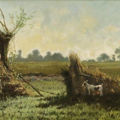 Jan Vrolijk | Geitje in een zomers landschap | Kunsthandel Bies