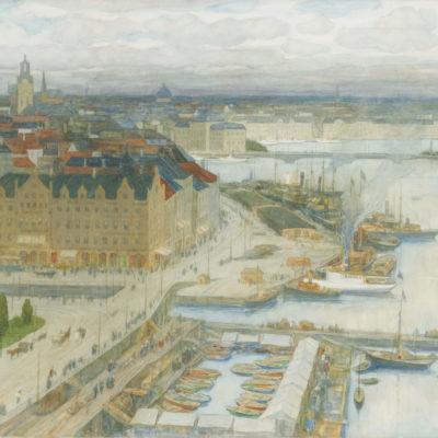 Nicolaas van der Waay | Gezicht op Stockholm, met de Storkyrkan of Grote Kerk in de verte | Kunsthandel Bies