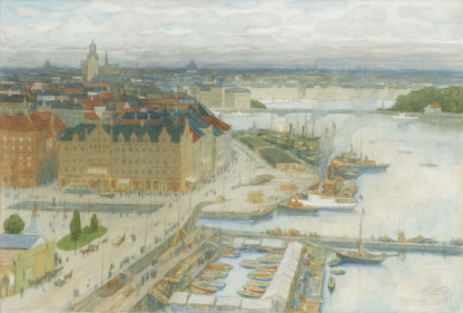 Nicolaas van der Waay   Gezicht op Stockholm, met de Storkyrkan of Grote Kerk in de verte   Kunsthandel Bies