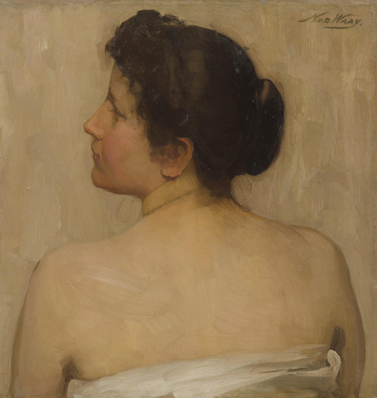 Afbeelding | Nicolaas van der Waay | Studie van een vrouw op de rug gezien
