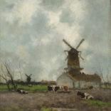 Hendrik Johannes ('J.H.') Weissenbruch   Hollands landschap met molens en koeien   Kunsthandel Bies