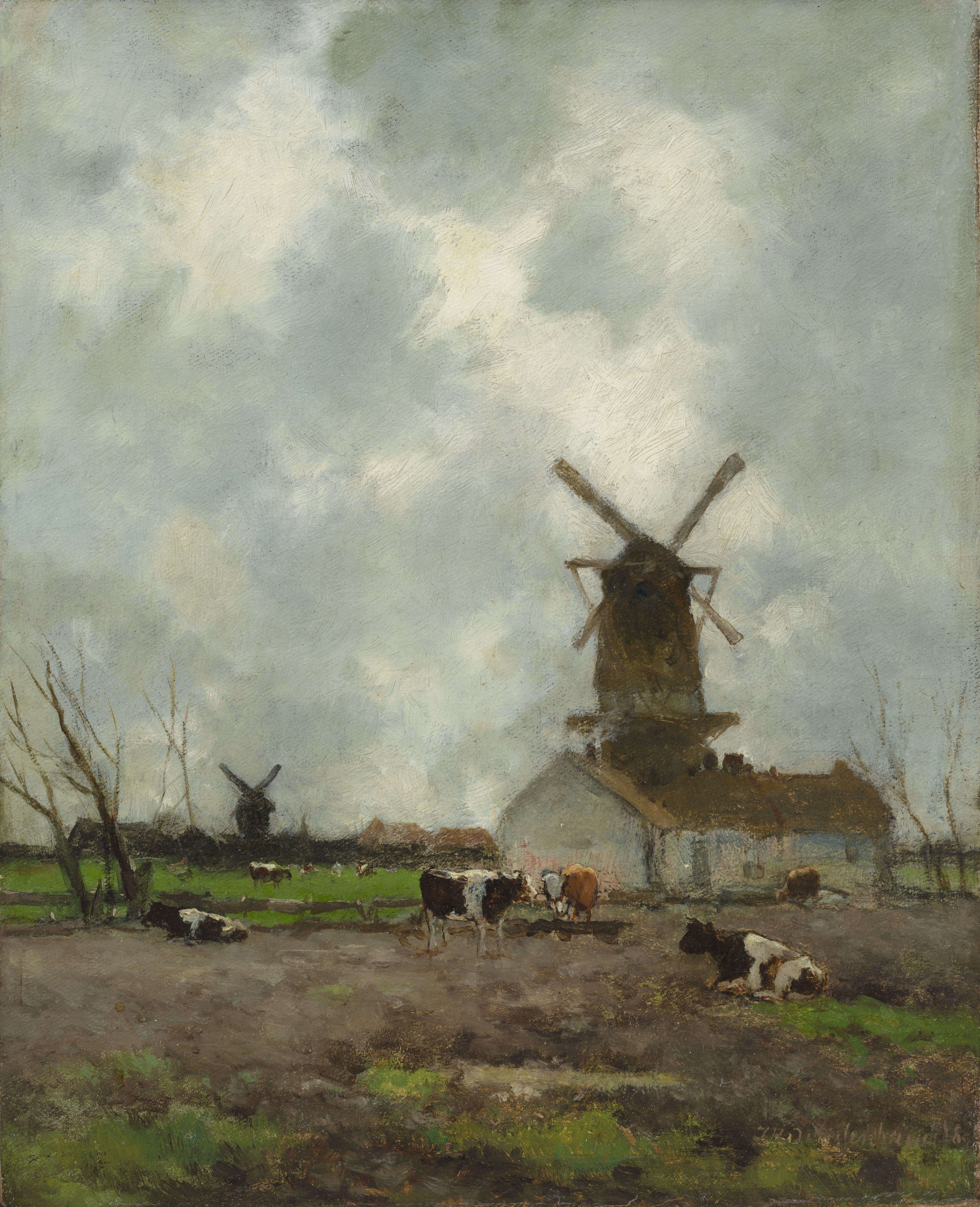 J.H. Weissenbruch | A Dutch landscape with windmills and cows | Kunsthandel Bies | Bies Gallery