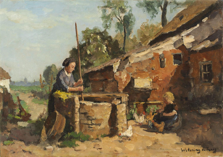 Johannes Embrosius van de Wetering de Rooij | Moeder met kind op een boerenerf | Kunsthandel Bies