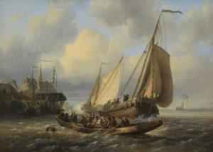 Wijnand Nuijen | Riviergezicht met schepen en overzetveer | Kunsthandel Bies