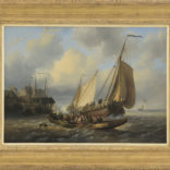 Wijnand Nuijen | Riviergezicht met schepen en overzetveer