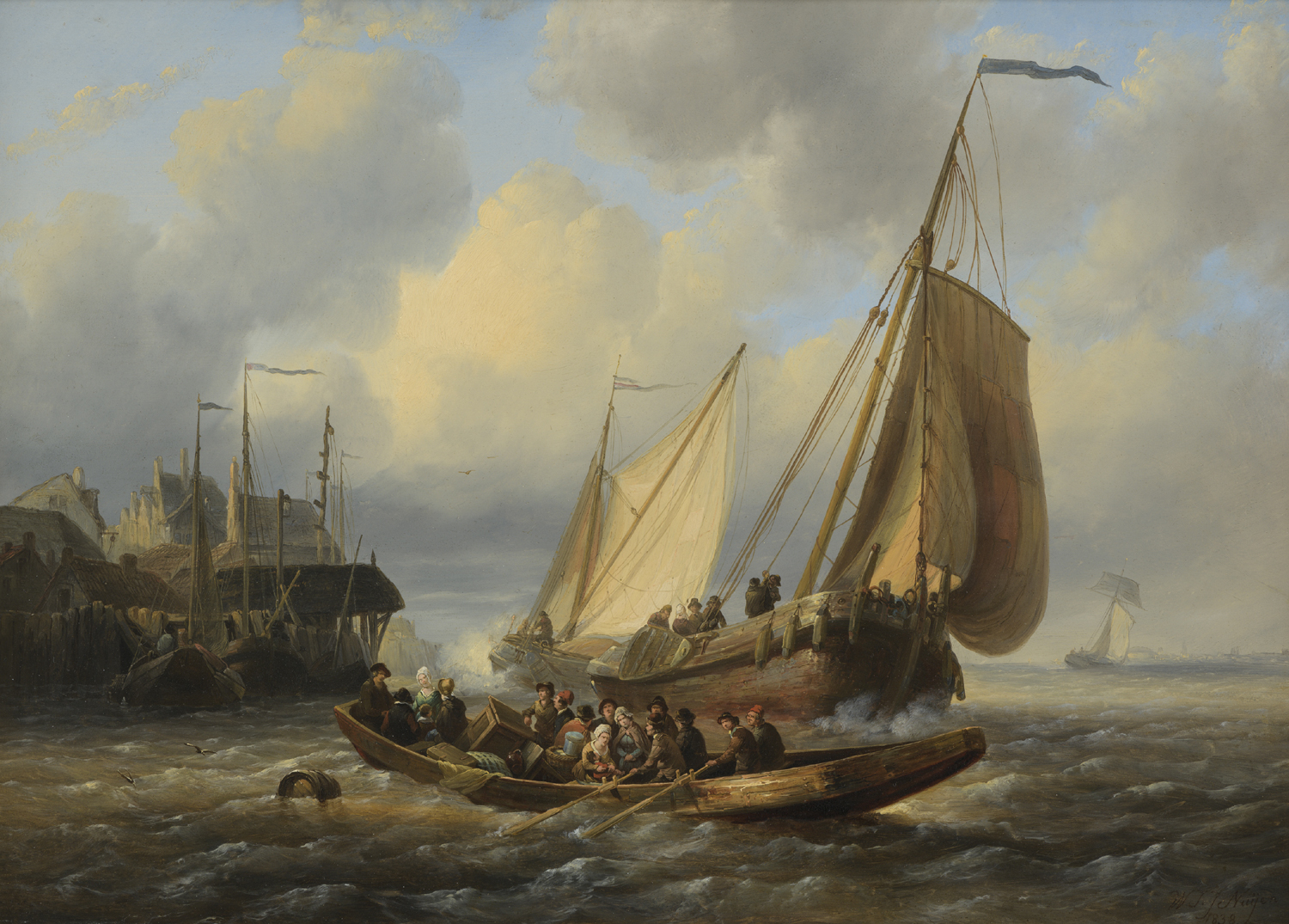 Wijnand Nuijen | A river scene with ships and a ferry-boat | Kunsthandel Bies | Bies Gallery