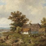 Anthonie Jacobus van Wijngaerdt   Landschap met figuren bij een boerderij   Kunsthandel Bies