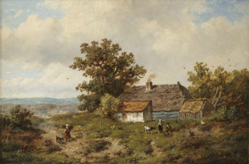 Anthonie Jacobus van Wijngaerdt | Landschap met figuren bij een boerderij | Kunsthandel Bies