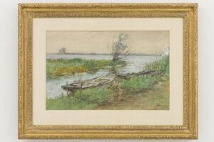 Jan Hillebrand Wijsmuller | Polderlandschap met boten | Kunsthandel Bies