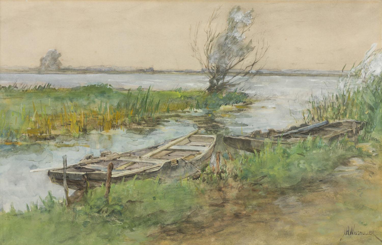 Jan Hillebrand Wijsmuller   Polderlandschap met boten   Kunsthandel Bies