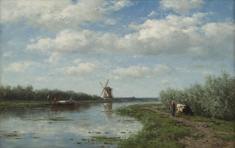Willem Roelofs | Baambrugge, Molen 't Hoog- en Groenland aan de Angstel | Kunsthandel Bies