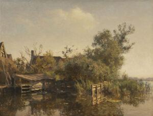 Willem Bastiaan Tholen | Gezicht op een boerderij aan het water | Kunsthandel Bies