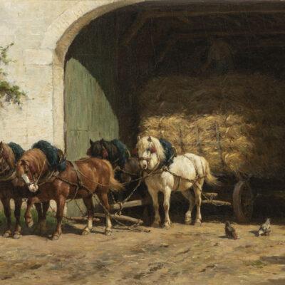 Willem Karel Nakken | Paarden bij een boerenhoeve | Kunsthandel Bies