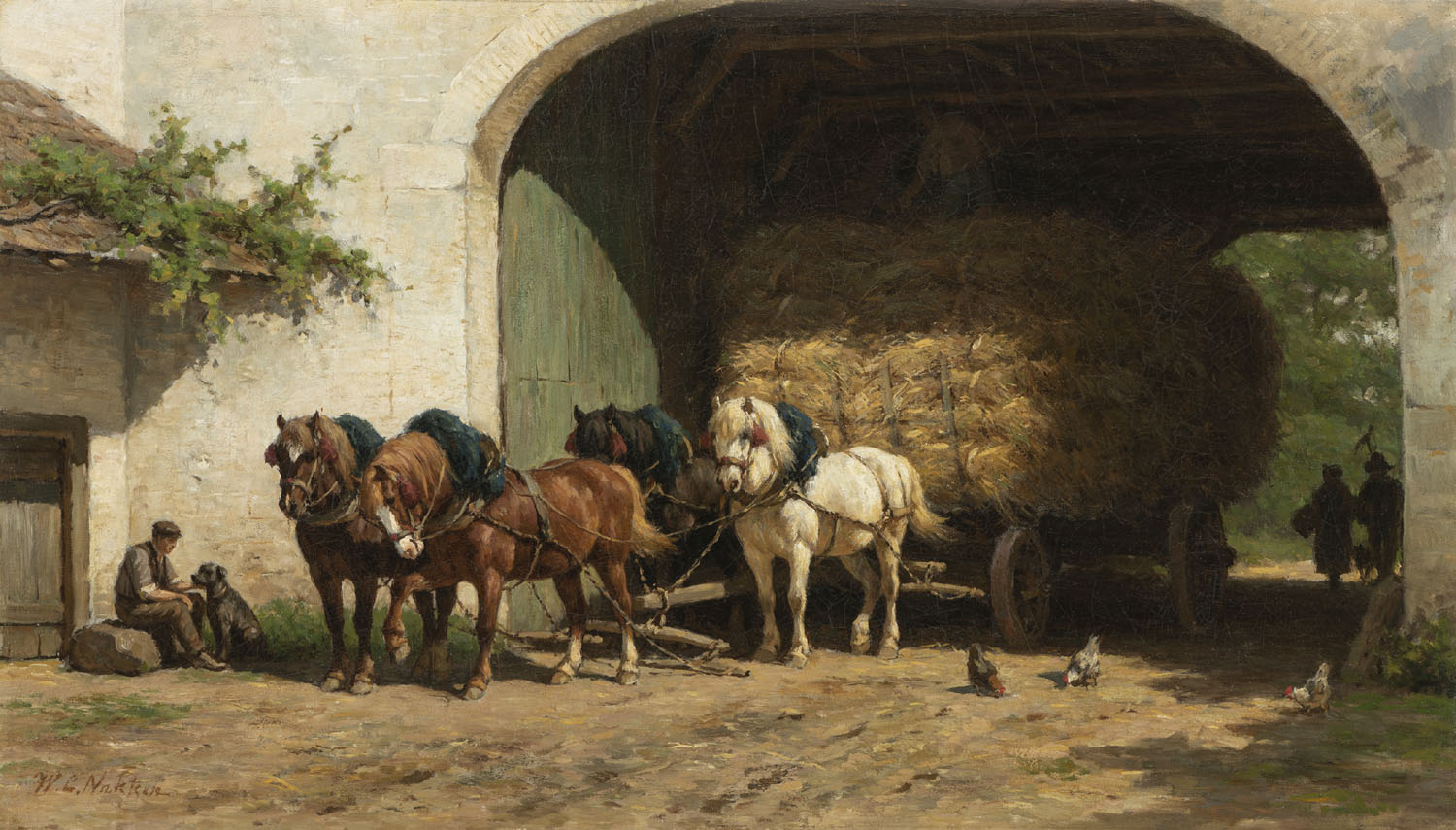 Willem Karel Nakken | Horses at a farmstead | Kunsthandel Bies | Bies Gallery