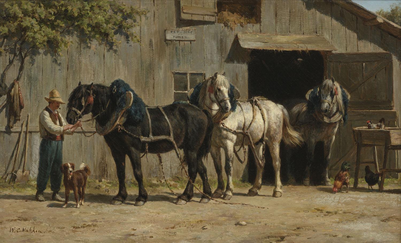 Willem Karel Nakken | Paarden voor een boerderij| Kunsthandel Bies