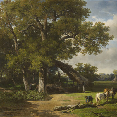 Willem Roelofs | Bosachtig landschap met houtakkers | Kunsthandel Bies