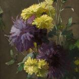 Chris van der Windt   Stilleven met gele en paarse dahlia's   Kunsthandel Bies