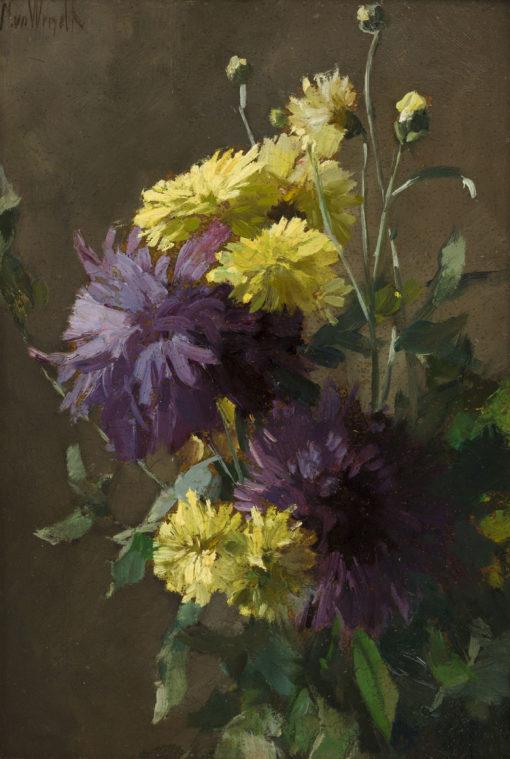Chris van der Windt | Stilleven met gele en paarse dahlia's | Kunsthandel Bies