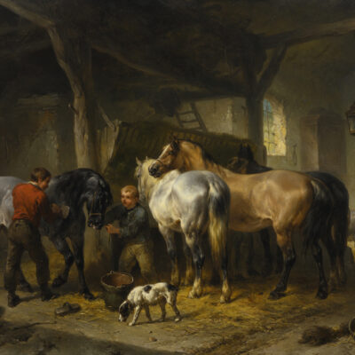Wouterus Verschuur | Het verzorgen van de paarden | Kunsthandel Bies