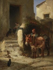 Wouterus Verschuur | Menton, man met ezel in een straatje | Kunsthandel Bies