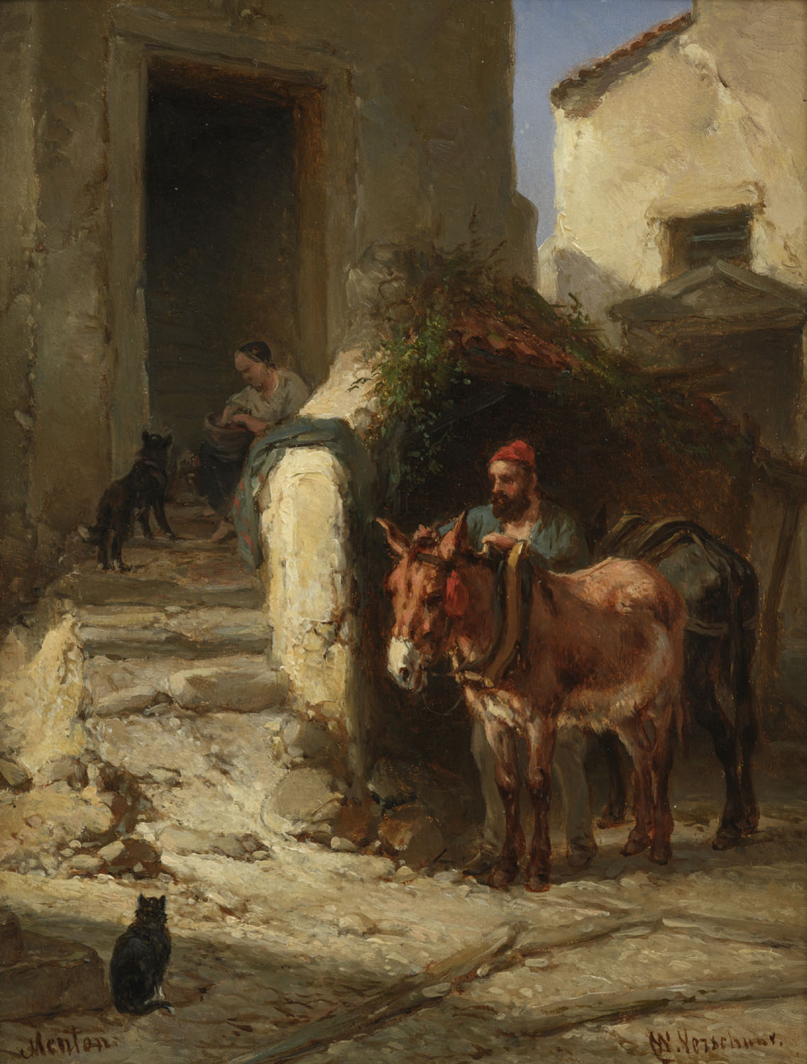 Wouterus Verschuur | Alley in Menton with man and donkey | Kunsthandel Bies | Bies Gallery