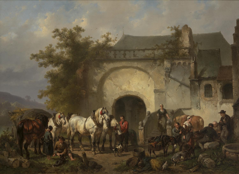 Wouterus Verschuur | Xanten, paarden en figuren bij de Michaelskapel | Kunsthandel Bies