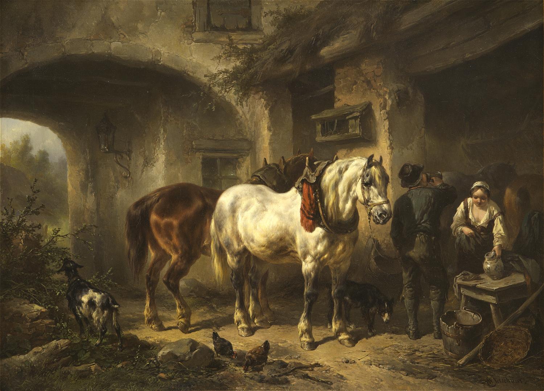 Wouterus Verschuur | Paarden en personen op een binnenplaats | Kunsthandel Bies