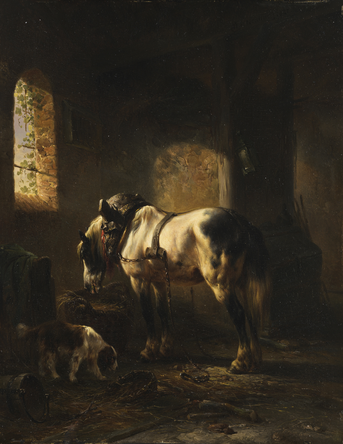 Wouterus Verschuur | A stable interior with a grey horse and a dog | Kunsthandel Bies | Bies Gallery