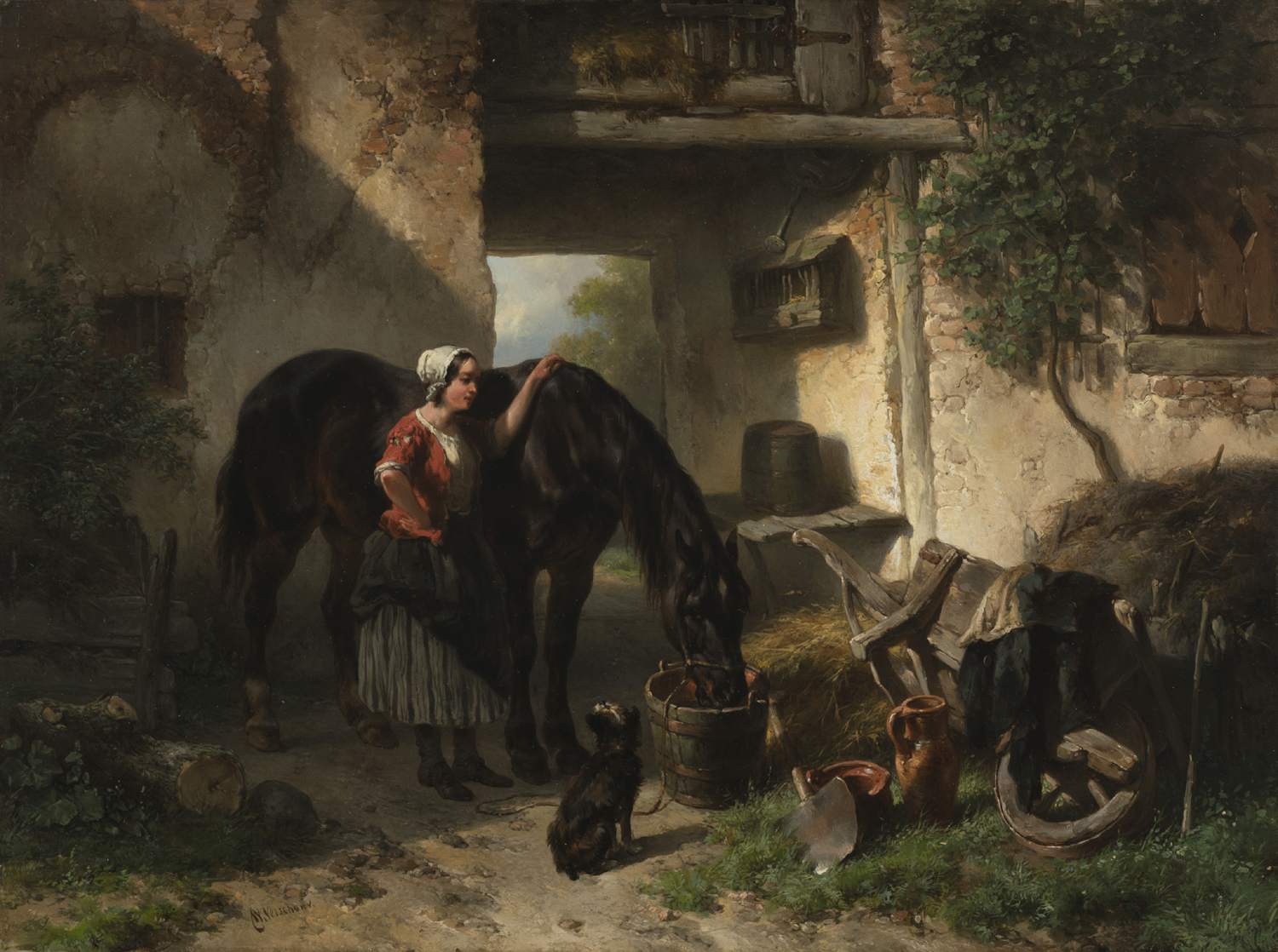 Wouterus Verschuur | A young woman with a drinking horse | Kunsthandel Bies | Bies Gallery