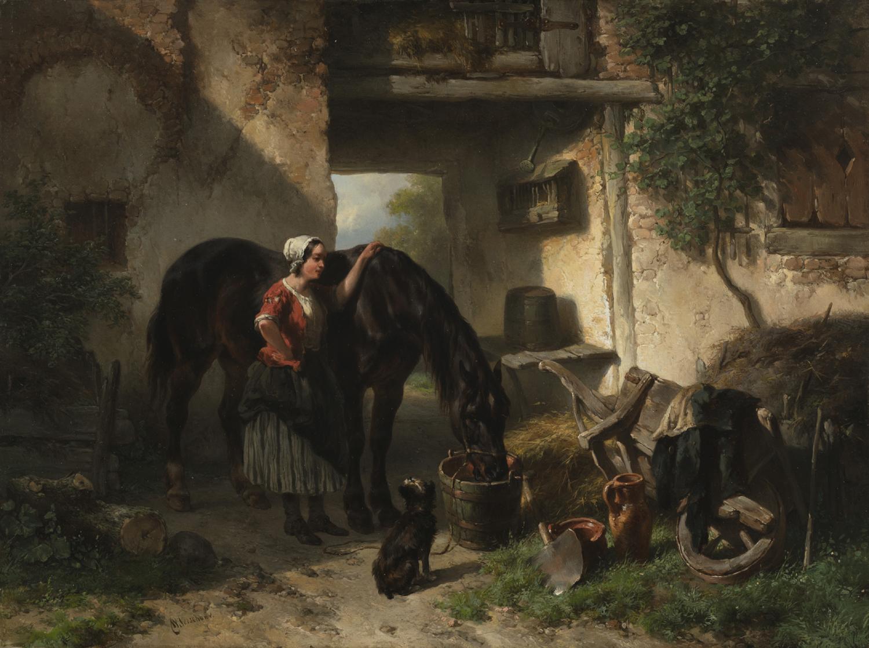 Wouterus Verschuur | Vrouw bij drinkend paard | Kunsthandel Bies