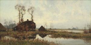 Arie Zwart | Hollands polderlandschap met boerenhoeve | Kunsthandel Bies